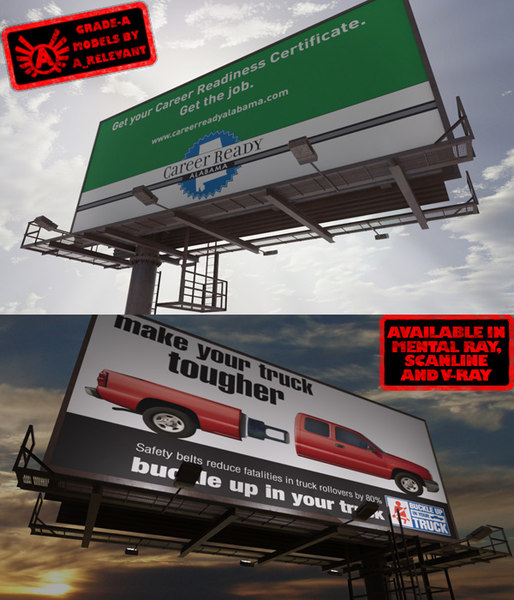 3d large hd billboard 2 model