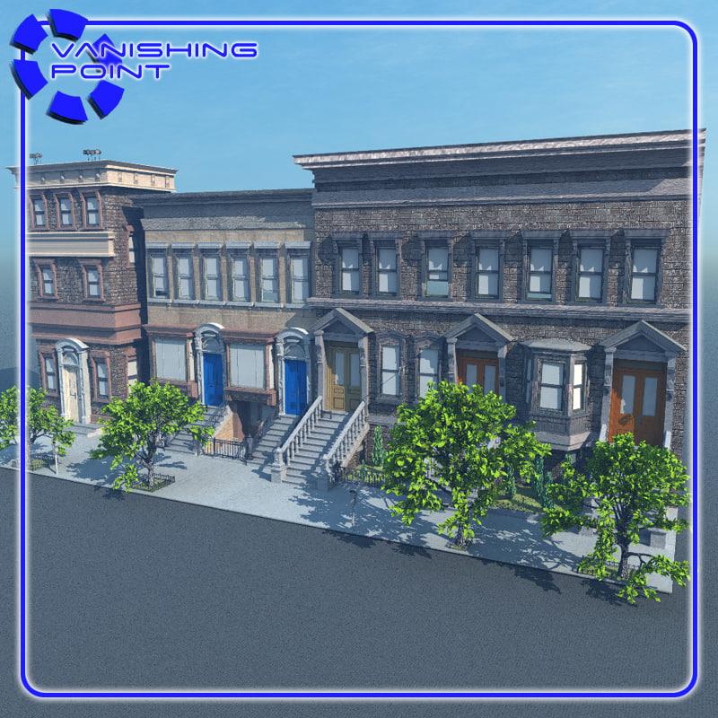 brownstone 1 scene street 3ds