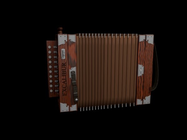 cajun accordion 3d model