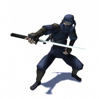 3d ninja assassin rigged animation character model