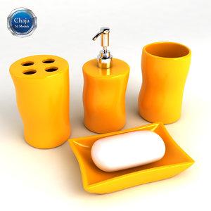 3d bathroom accessories bath model
