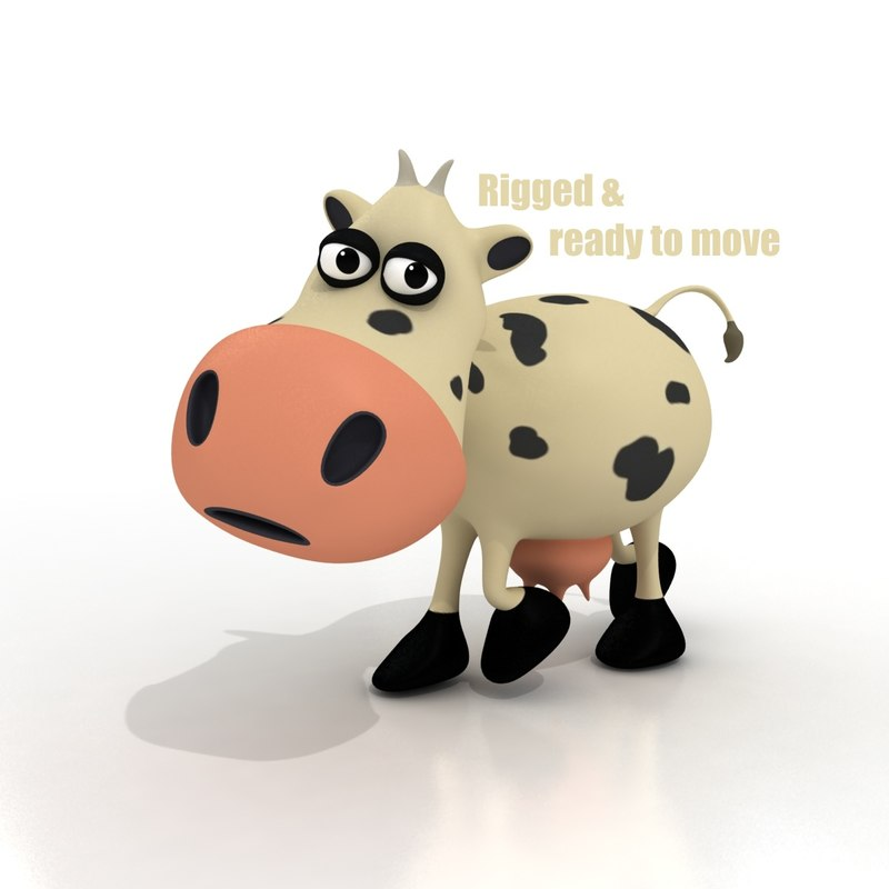 3d cartoon cow rigged model