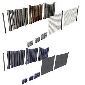 3d fences wood picket model