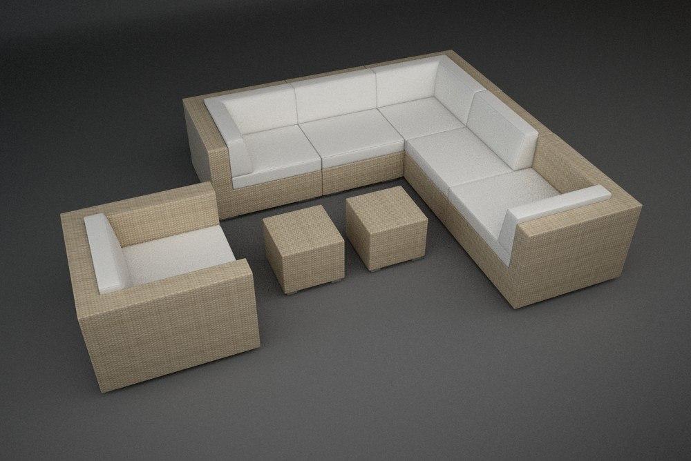 rattan lounge furniture set 3d 3ds