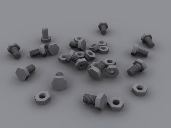 nut screw 3d max