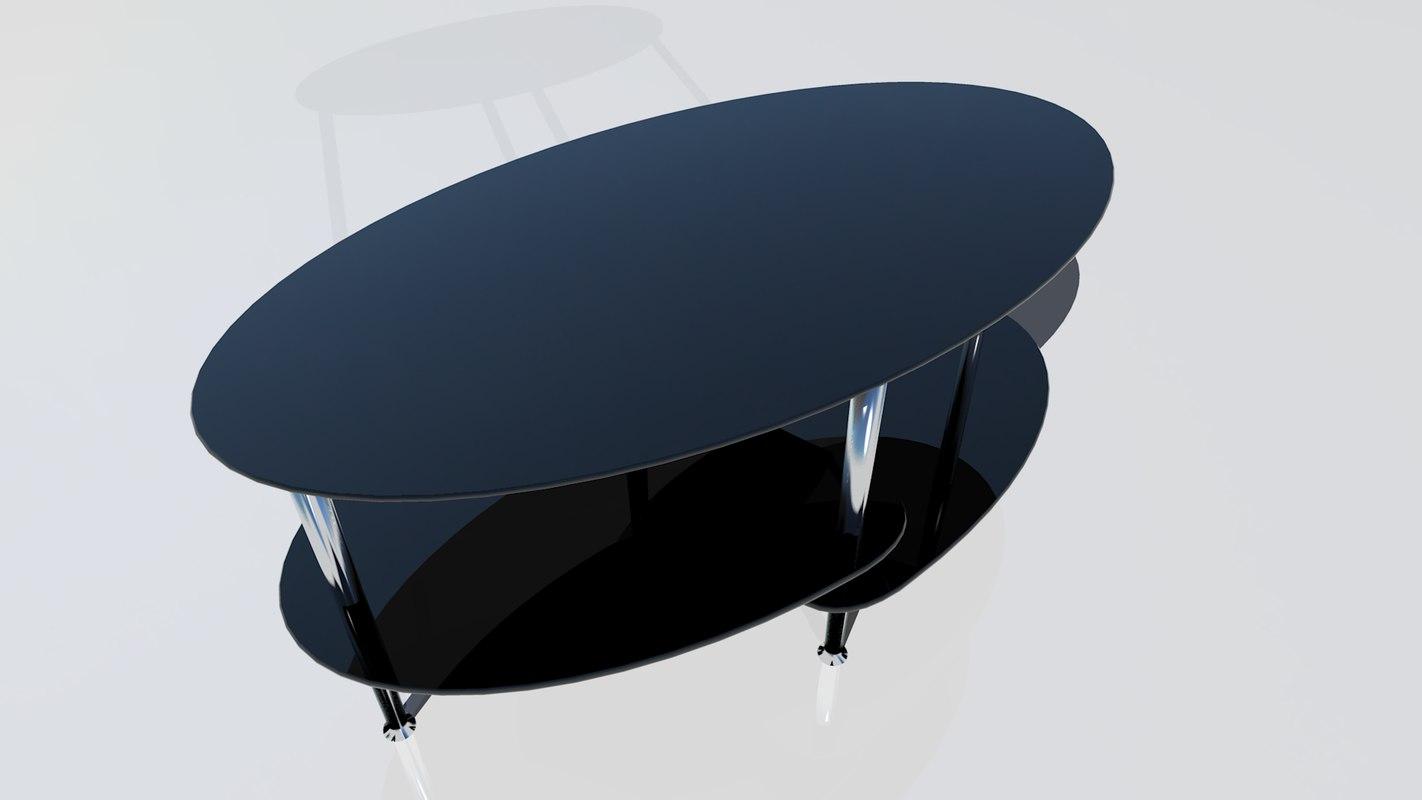 3d black oval table
