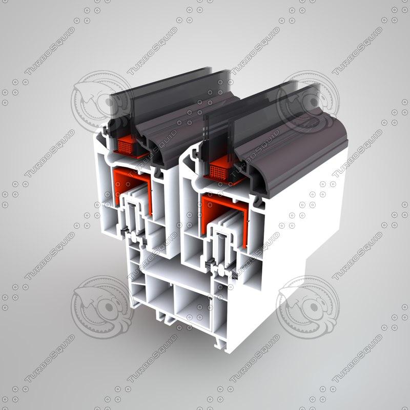 3d model pvc window profile