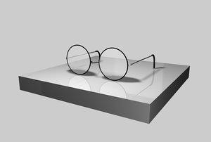black wire rim glasses 3d model