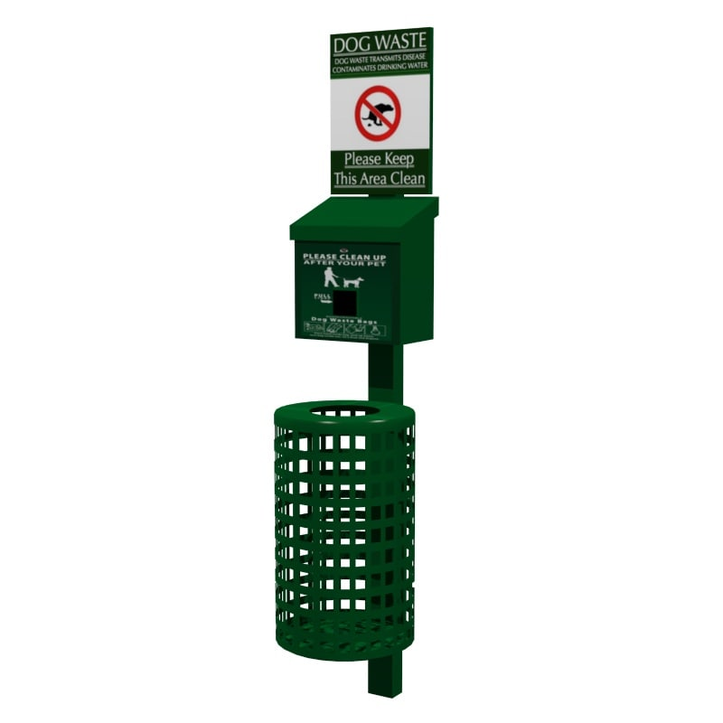 dog waste station 3d obj