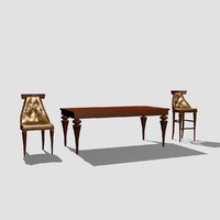 chair bar dining table 3d model