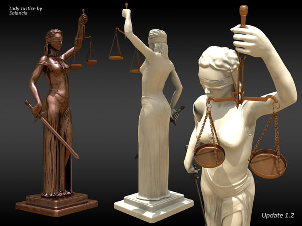 3d lady justice statue v