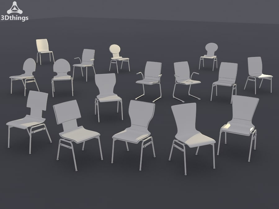 conference chair set 17 3d model