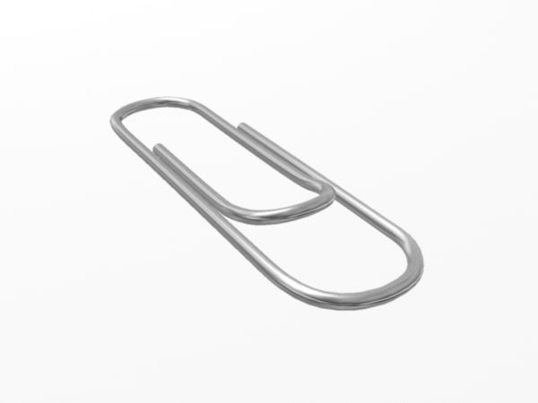3d model of metal paperclip