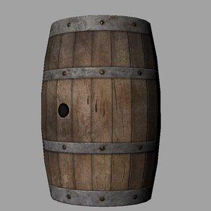3d obj wooden barrel