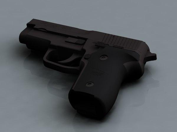 sig p228 pistol 3d model