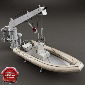 3d model boat davit rescue