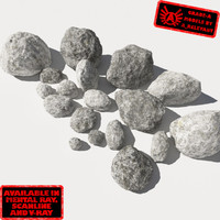 Rocks - Stones 11 Smooth RM19 - Chalk White 3D Rocks or Stones