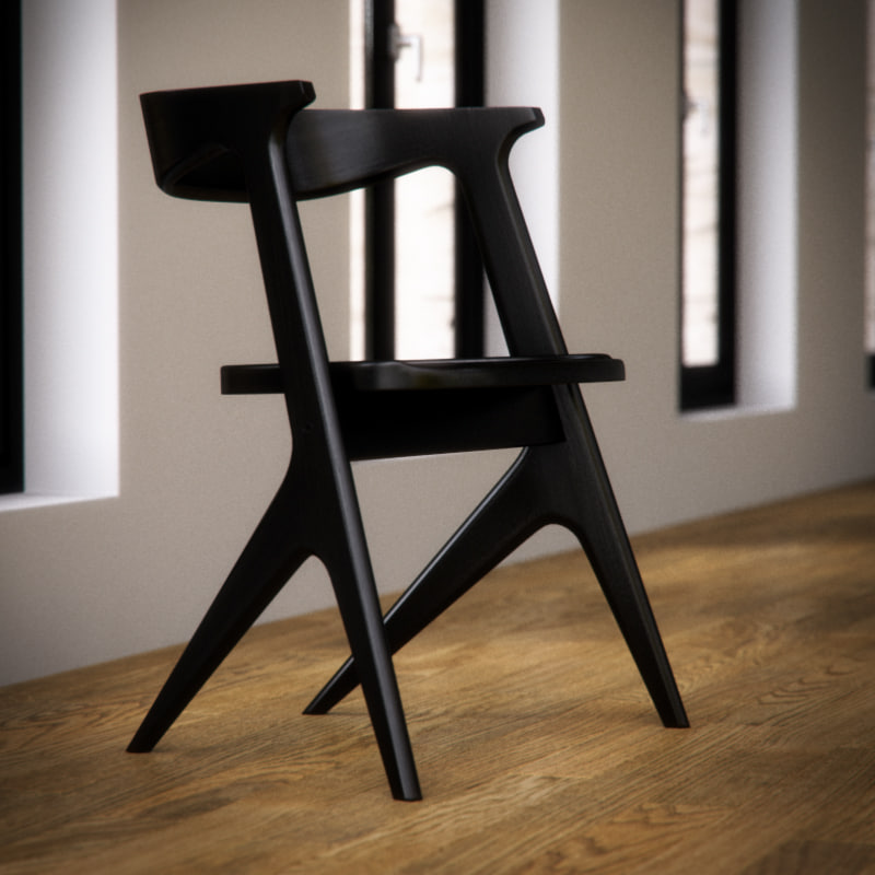 3ds max dixon slab chair wood