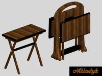 3d tv table set model