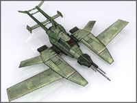 High Tech Plane, Low Poly, Textured