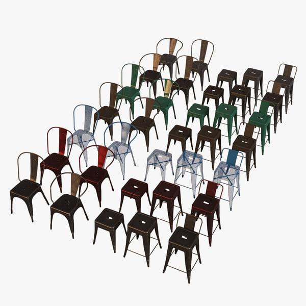 3d model tolix chair armchair stools