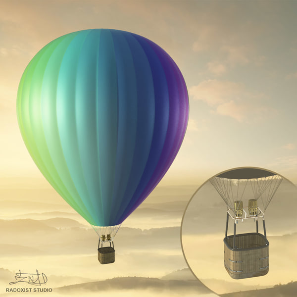 3ds max air balloon basket resolution