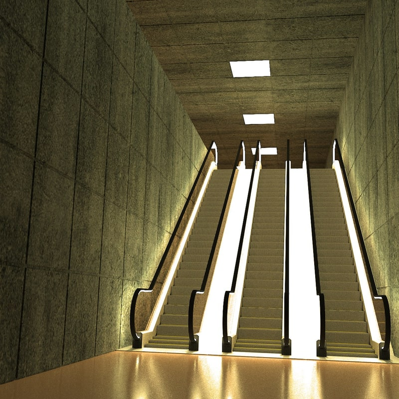 3d underground scene escalator model