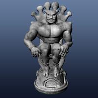 3d gargoyle chess king