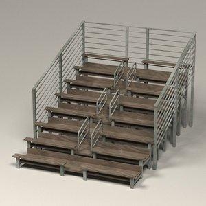3d stadium benches