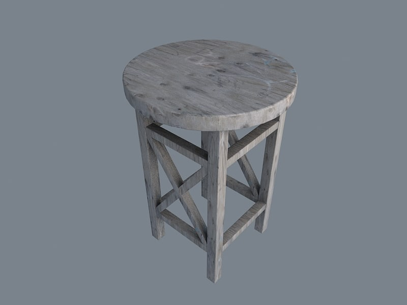 3d model old stool