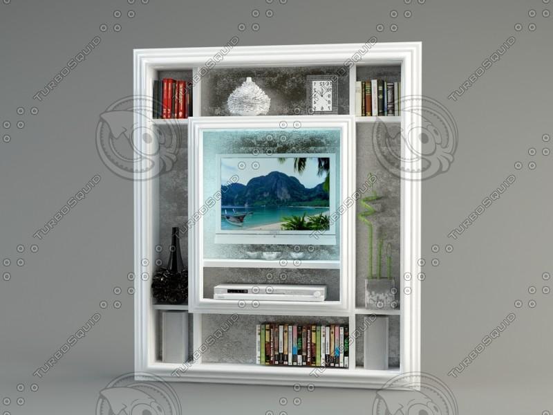 3d model shelf tv