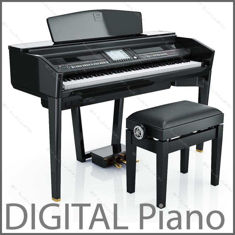 digital grand piano yamaha 3d model