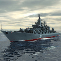 3d slava class cruiser moskva model
