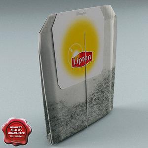 3d model tea bag lipton