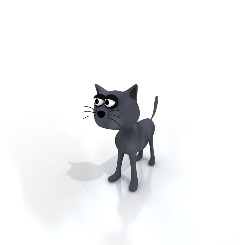 3d model cartoon cat rigged