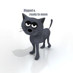 3d model cartoon cat rigged