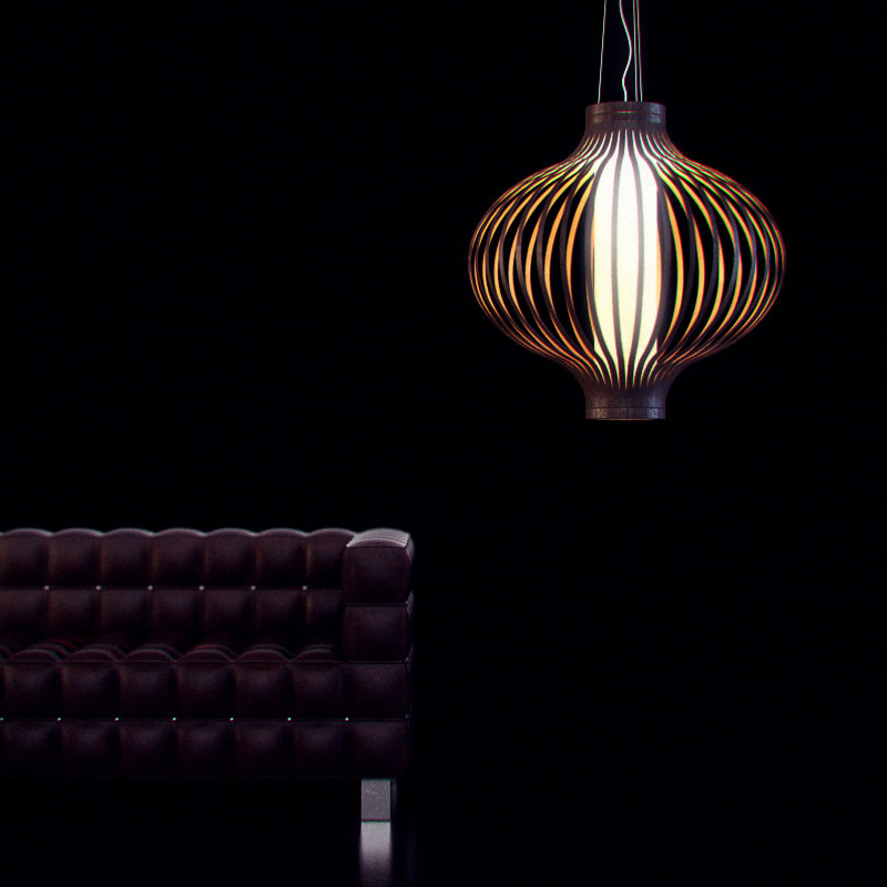 wooden lampshade 17 3d model
