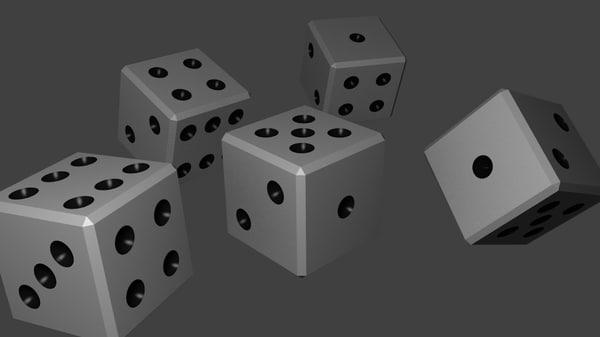 free black dice 3d model