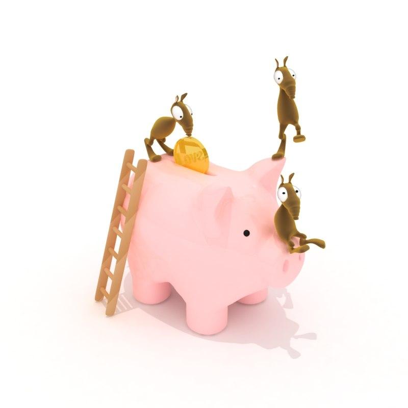 3d piggy bank character model