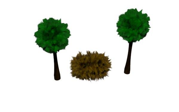3d fun trees bush model