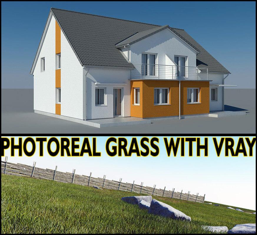 3ds max photoreal villa house grass garden