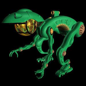 3d frog robot weapons model