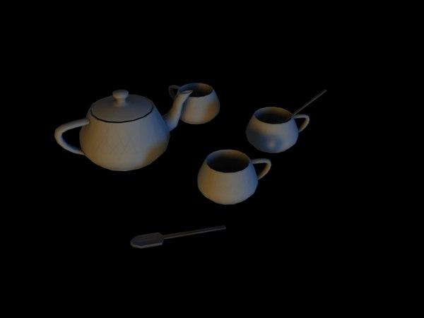 3d tea set coffee