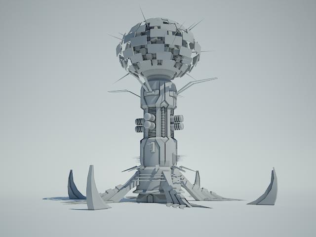 3ds futuristic sci fi building