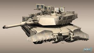 m-1a2 abrams tank 2 3d model