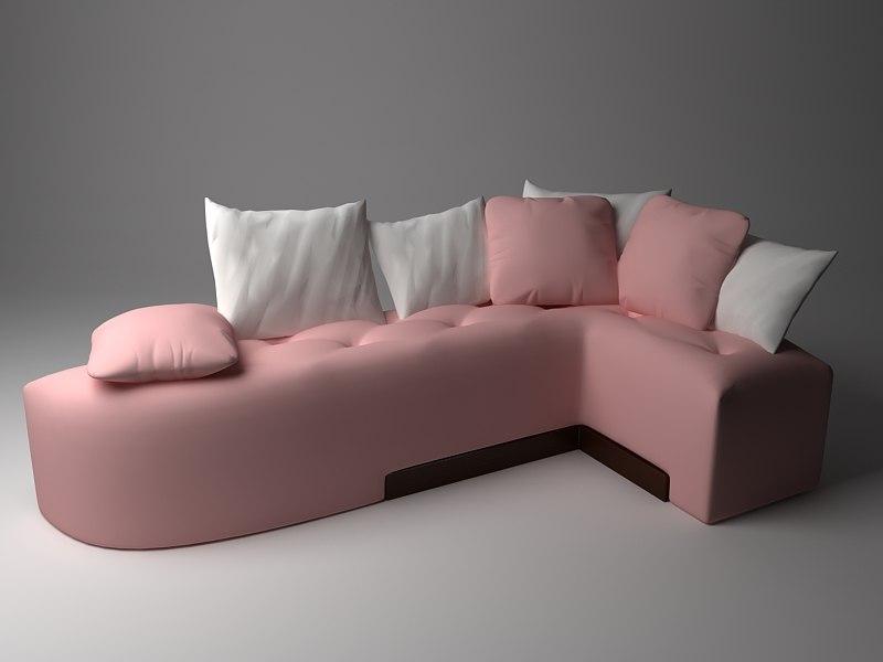 sofa corner pink 3d max