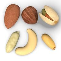 nuts pine almond 3d model