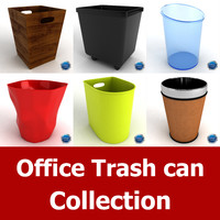 3d model office trash cans