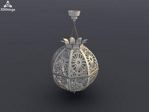 3d model antique brass lantern