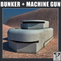 3d model of ww2 bunker m2 browning